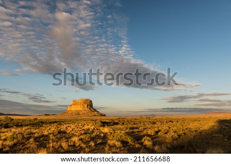 Fajada Butte in Chaco Canyon at the Chaco Culture National Historical Park in New Mexico - stock photo