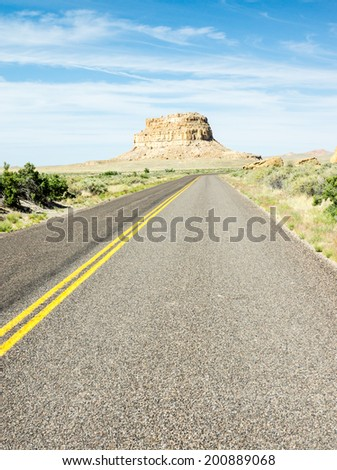 Fajada Butte is the main landmark at Chaco Canyon - stock photo
