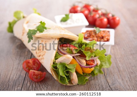 fajita, tortilla wrap - stock photo