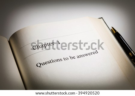 fake book. chapter one, Questions to be answered - stock photo