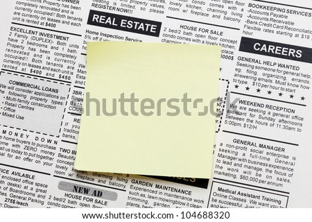 Fake Classified Ad, newspaper and sticky note - stock photo