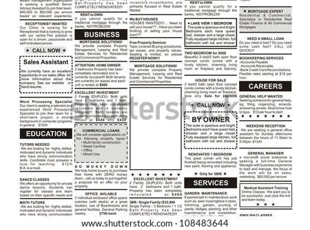 Fake Classified Ad Newspaper Business Concept Stock Photo