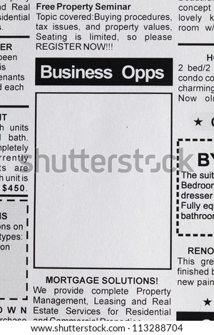 Fake Classified Ad, newspaper, business opportunity concept. - stock photo