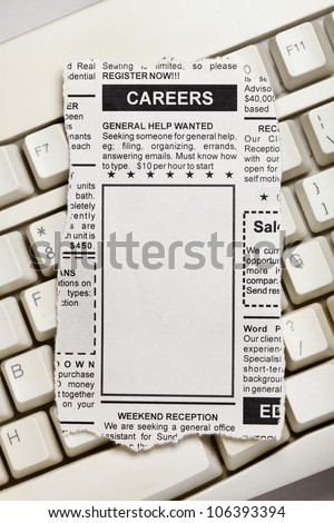 Fake Classified Ad, newspaper, Career concept. - stock photo