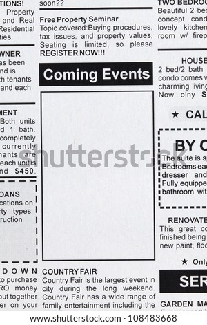 Fake Classified Ad, newspaper, Coming Events concept. - stock photo