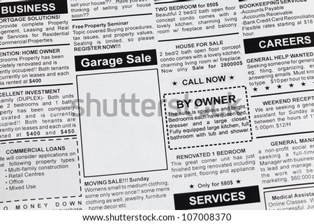 Fake Classified Ad, newspaper, Garage Sale concept.