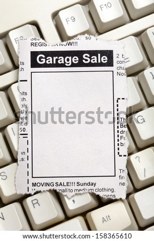 Fake Classified Ad, newspaper, Garage Sale concept. - stock photo