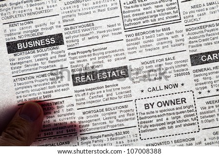 Fake Classified Ad, transparent newspaper, business concept.