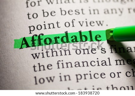 Fake Dictionary, definition of the word affordable. - stock photo