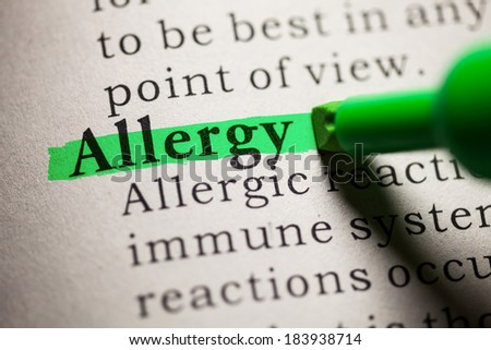 Fake Dictionary, definition of the word Allergy. - stock photo