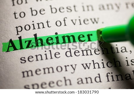 Fake Dictionary, definition of the word Alzheimer. - stock photo