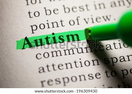 Fake Dictionary, definition of the word Autism. - stock photo