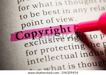 Fake Dictionary, definition of the word Copyright. - stock photo