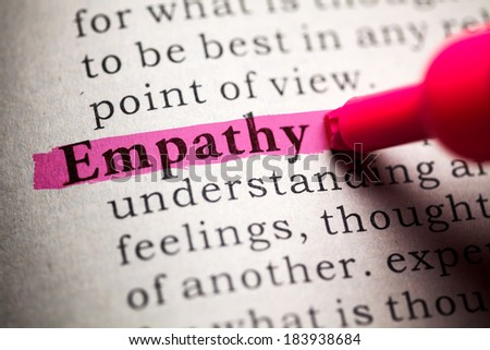 Fake Dictionary, definition of the word empathy. - stock photo