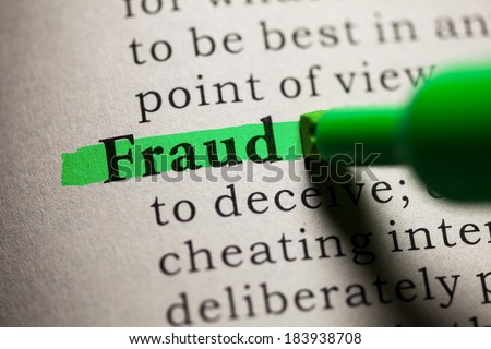 Fake Dictionary, definition of the word fraud. - stock photo