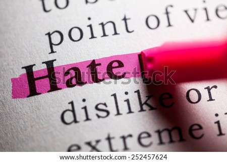 Fake Dictionary, definition of the word hate. - stock photo
