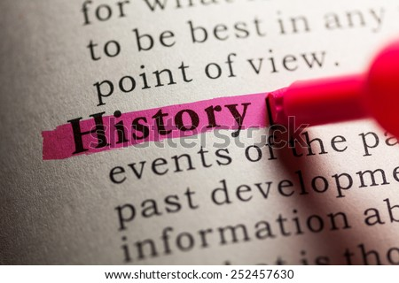 Fake Dictionary, definition of the word history. - stock photo