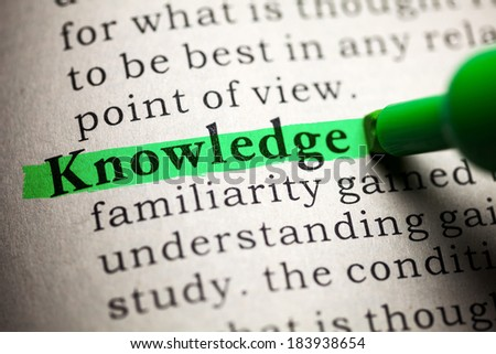 Fake Dictionary, definition of the word knowledge. - stock photo