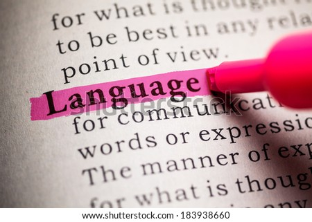 Fake Dictionary, definition of the word Language. - stock photo