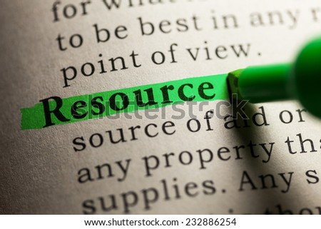 Fake Dictionary, definition of the word resource. - stock photo