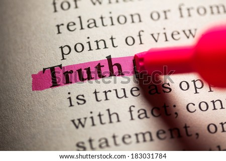 Fake Dictionary, definition of the word truth. - stock photo