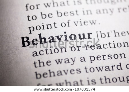 Fake Dictionary, Dictionary definition of the word behaviour. - stock photo
