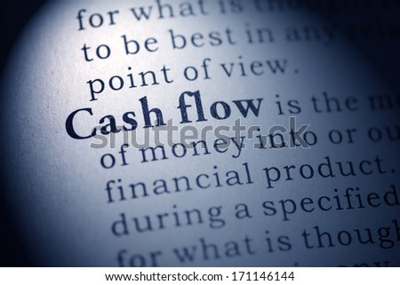 Fake Dictionary, Dictionary definition of the word cash flow. - stock photo