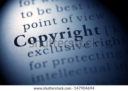 Fake Dictionary, Dictionary definition of the word Copyright. - stock photo