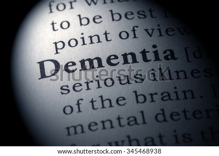 Fake Dictionary, Dictionary definition of the word dementia - stock photo