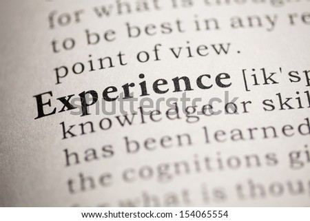 Fake Dictionary, Dictionary definition of the word Experience.