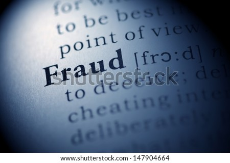 Fake Dictionary, Dictionary definition of the word Fraud. - stock photo
