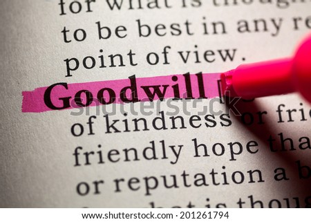 Fake Dictionary, Dictionary definition of the word goodwill. - stock photo