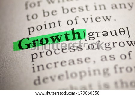 Fake Dictionary, Dictionary definition of the word Growth. - stock photo
