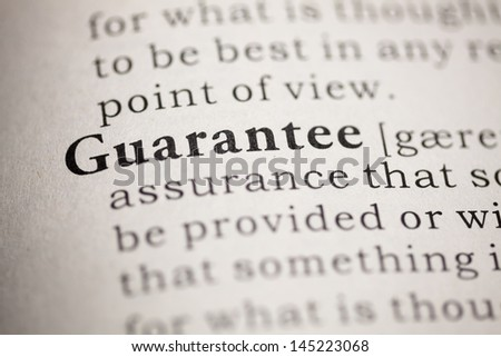 Fake Dictionary, Dictionary definition of the word Guarantee.
