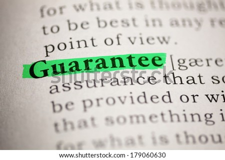 Fake Dictionary, Dictionary definition of the word Guarantee. - stock photo