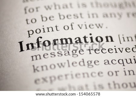 Fake Dictionary, Dictionary definition of the word Information. - stock photo