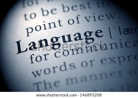 Fake Dictionary, Dictionary definition of the word Language. - stock photo