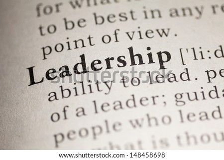Fake Dictionary, Dictionary definition of the word Leadership. - stock photo