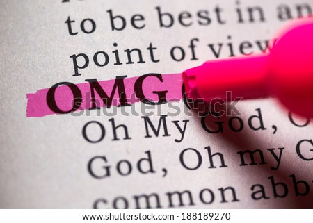 Fake Dictionary, Dictionary definition of the word OMG. Oh My God - stock photo