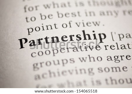 Fake Dictionary, Dictionary definition of the word Partnership. - stock photo