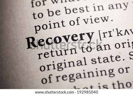 Fake Dictionary, Dictionary definition of the word recovery. - stock photo