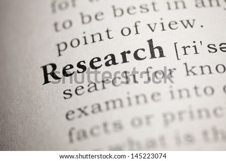 Fake Dictionary, Dictionary definition of the word Research. - stock photo