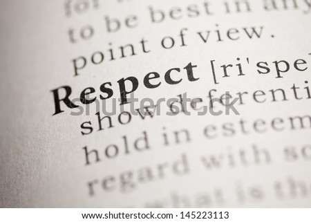 Fake Dictionary, Dictionary definition of the word Respect.