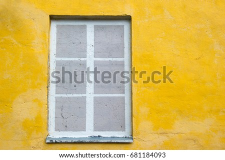 Fake Painted Window Frame On Yellow Stock Photo (Royalty Free ...