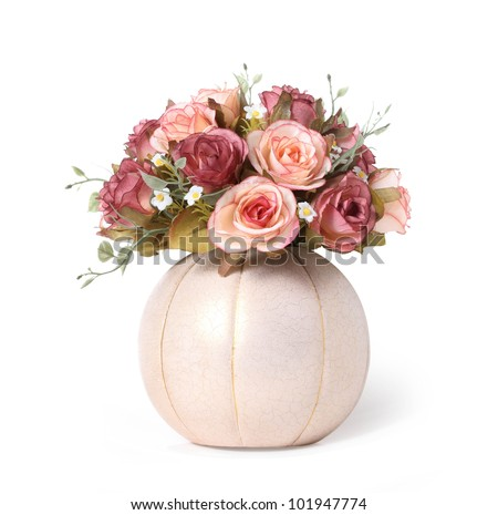 fake pink rose flower isolated on white background - stock photo