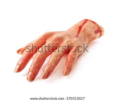 Fake severed hand isolated