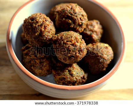 Falafel - Chickpea balls in a bowl viewed from above - stock photo