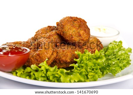 Falafel meatballs with two dips - stock photo