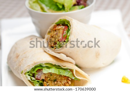 falafel pita bread roll wrap sandwich traditional arab middle east food
