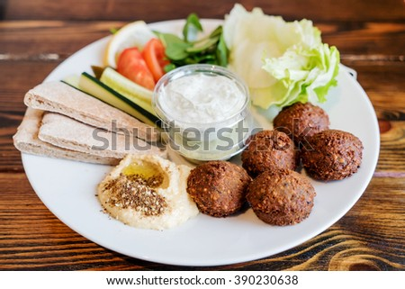 falafel plate - stock photo